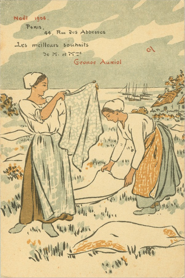 George Auriol Carte de Voeux, New Year's Wishes - washer women