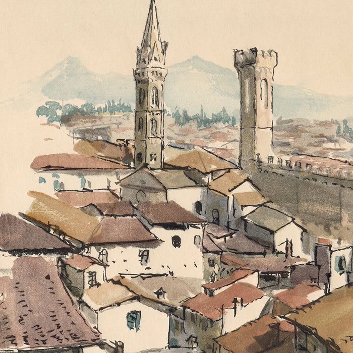 Germaine de Coster - Florence - color woodcut watercolor style - mokuhanga - detail