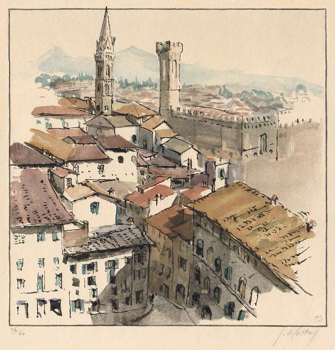 Germaine de Coster - Florence - Firenze - color woodcut watercolor style - mokuhanga