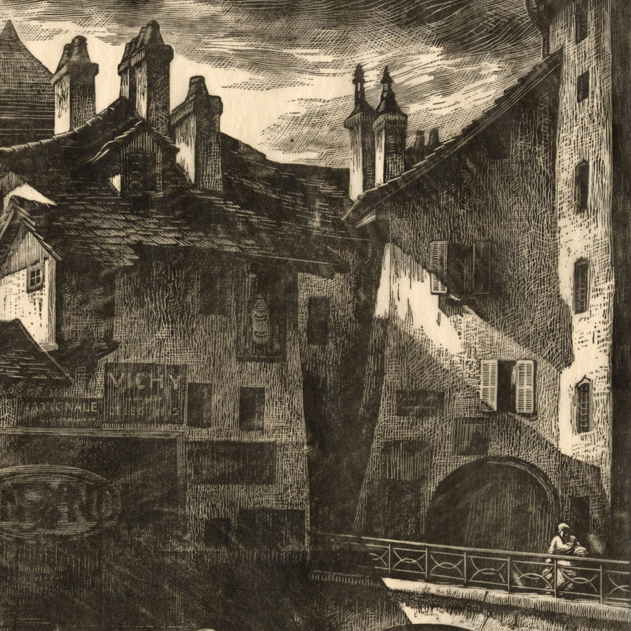 Grace  Albee - On the Canal,  Lac d'Annecy - looming town buildings with canal, bridge parapet - detail