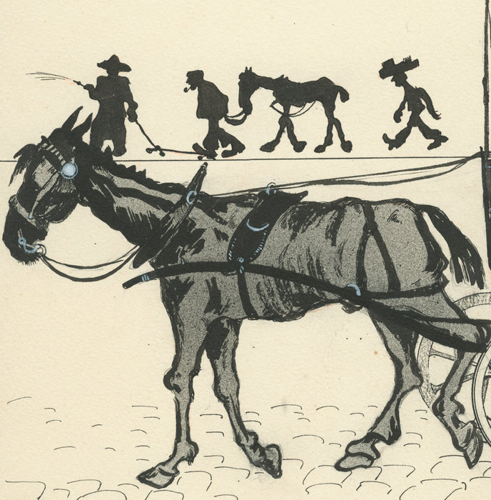 Gustave Marie - Cheval de Fiacre - horse drawn carriage - pen and ink drawing - detail