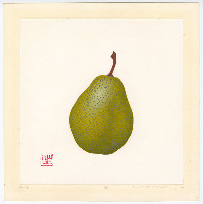 Color woodcut - by MAKI, Haku - titled: Pear