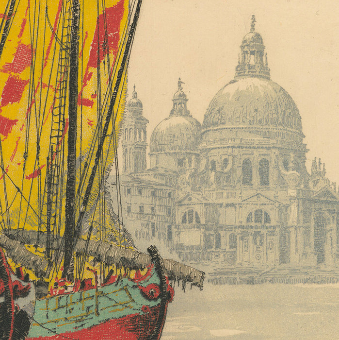 Hans Figura - Venice Santa Maria della Salute - color etching - colorful large boat with sails on Grand Canal in front of large church
