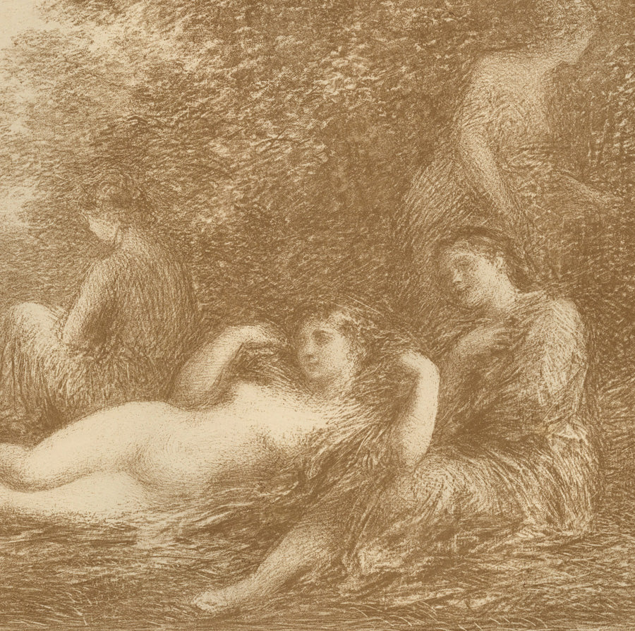Henri Fantin-Latour Bathers Baigneuses 4th large plate lithograph Vollard edition, Graceful, feminine, figurative, romantic, French, painterly, sylvan, pastoral, bucolic.