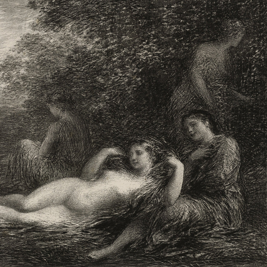 Henri Fantin-Latour Bathers - Baigneuses lithograph, Vollard edition, Graceful, feminine, figurative, romantic, French, painterly, sylvan, pastoral, bucolic.