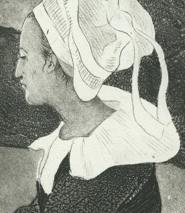 Intaglio - by DELAVALLEE, Henri - titled: Breton Woman Dressed in Black