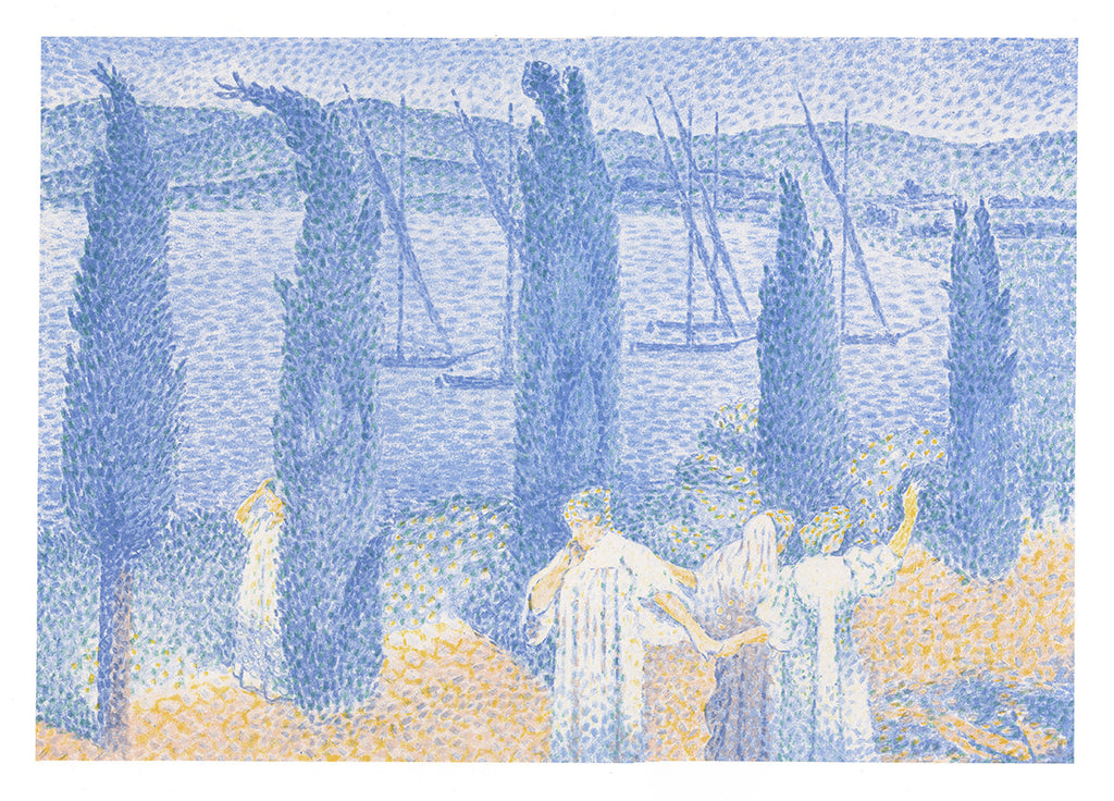 Henri Edmond Cross - La Promenade - Les Cypresses - Les Cypres - pointillist color lithograph