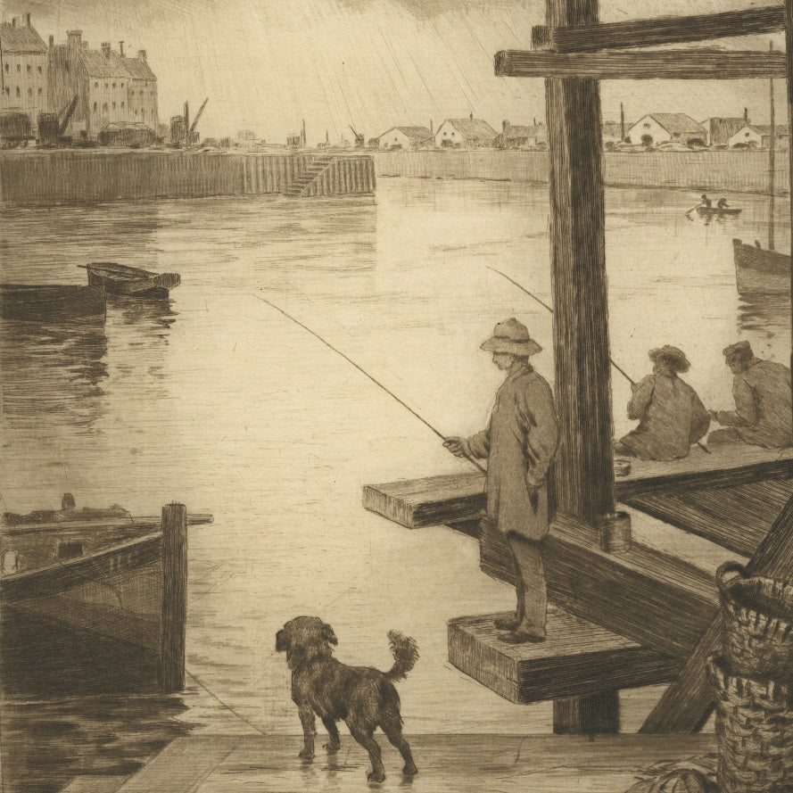 Etching, drypoint and roulette by Henri GUERARD - titled: Fishing on the Scaffolding in the Harbor Dieppe
