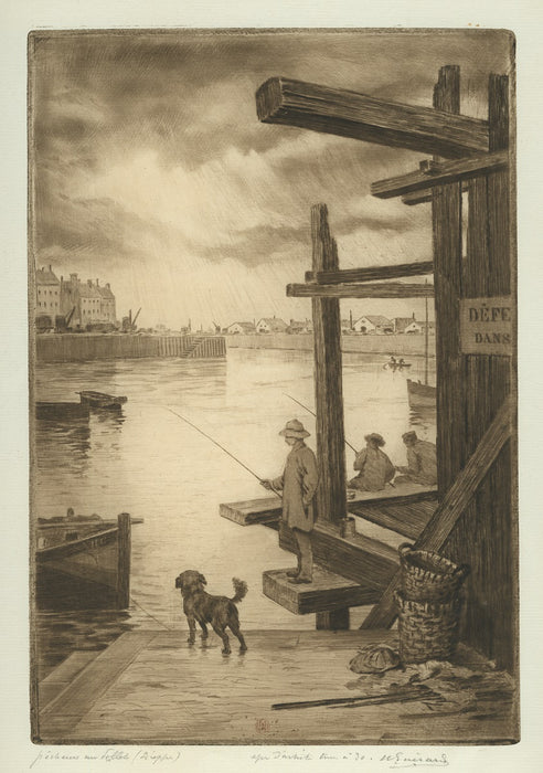 Henri Guerard - Fishing on the Scaffolding in the Harbor - Dieppe - main