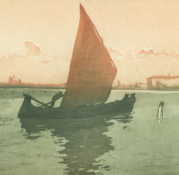 Henri Meunier - Coucher de Soleil Lagune Venise - Sailboat in the Harbor - color aquatint - detail