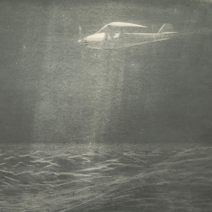 Henry Ziegler - Night Flight - aquatint burnisher mezzotint effect - early aviation - detail