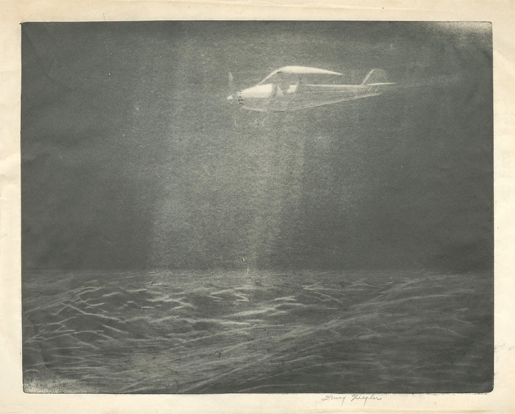 Henry Ziegler - Night Flight - aquatint burnisher mezzotint effect - early aviation