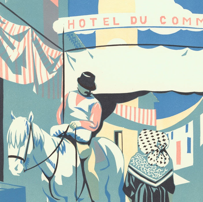 Color woodcut - by HERMANN-PAUL, Rene G. - titled: The Commerce Hotel