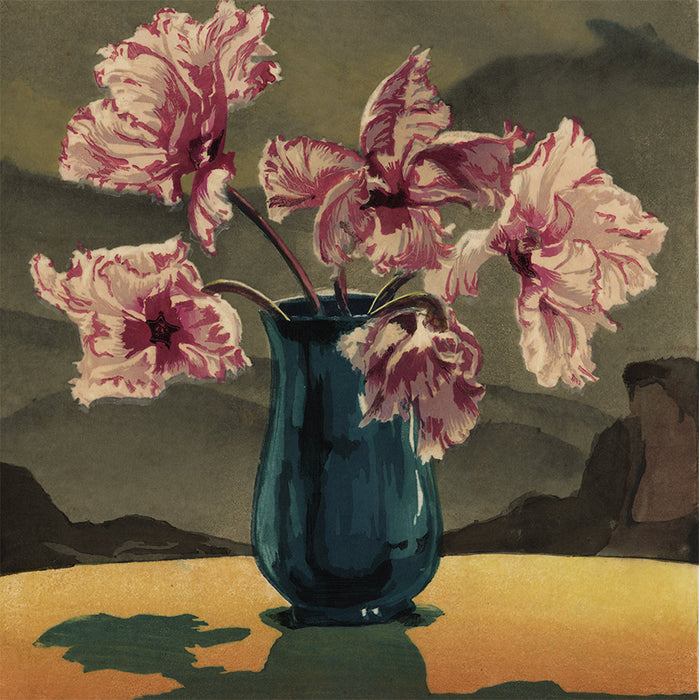 Hugo Noske - Tulpen - Pink and White Ruffled Tulips - color woodcut - detail