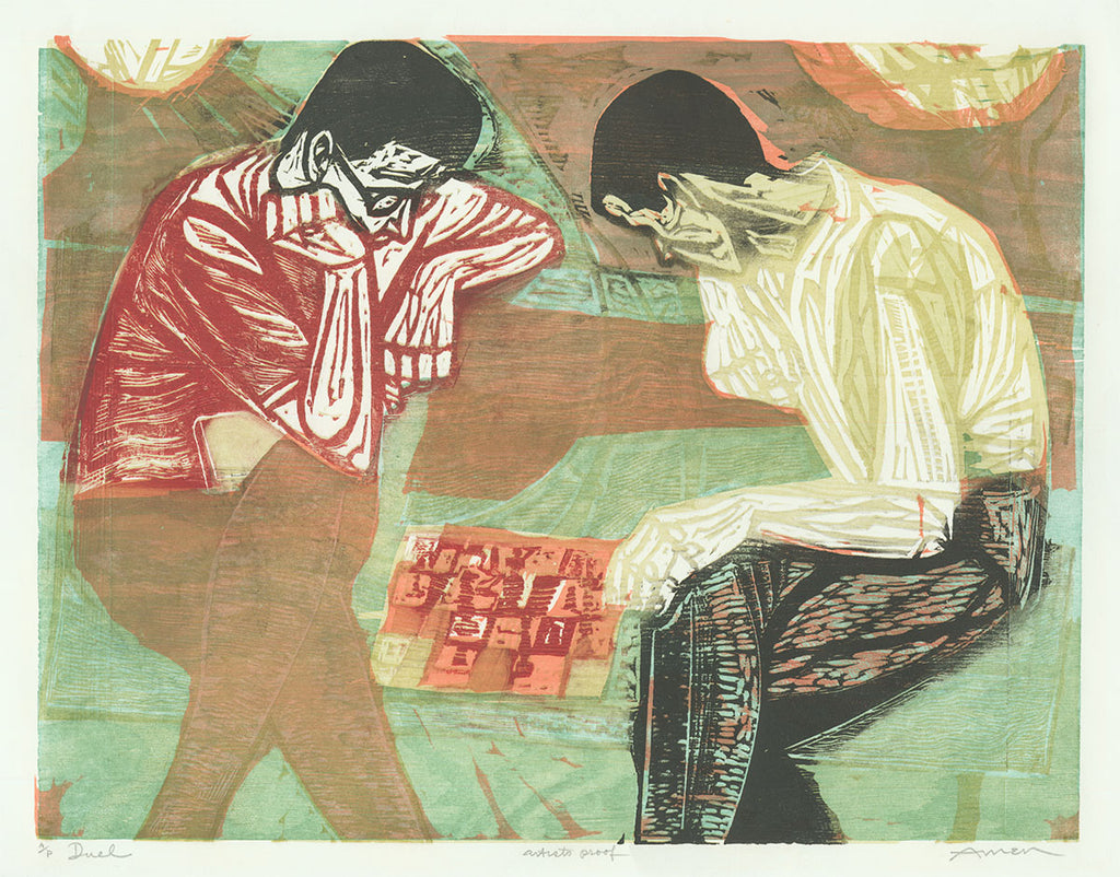 Irving Amen - Duel - Chess Players - Game of Chess - Color woodcut