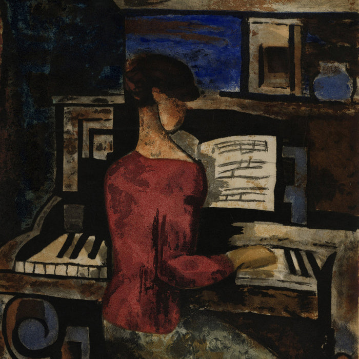 Jacques Villon, Le Femme au Piano, d'après Marcel Gromaire (original French title)  Color etching and aquatint on thick wove paper, 1928-29.