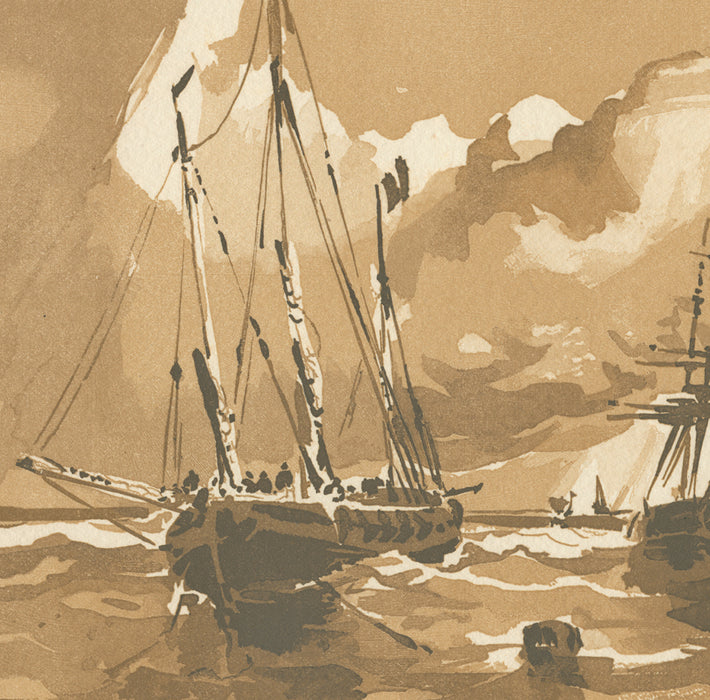 Woodcut - by BELTRAND, Jacques - titled: Ships at Sea