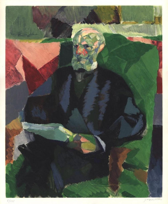 Jacques Villon - Monsieur Duchamp - color aquatint intaglio - Ginestet & Pouillon App. 118 - Crommelynck, Paris - seated Marcel Duchamp