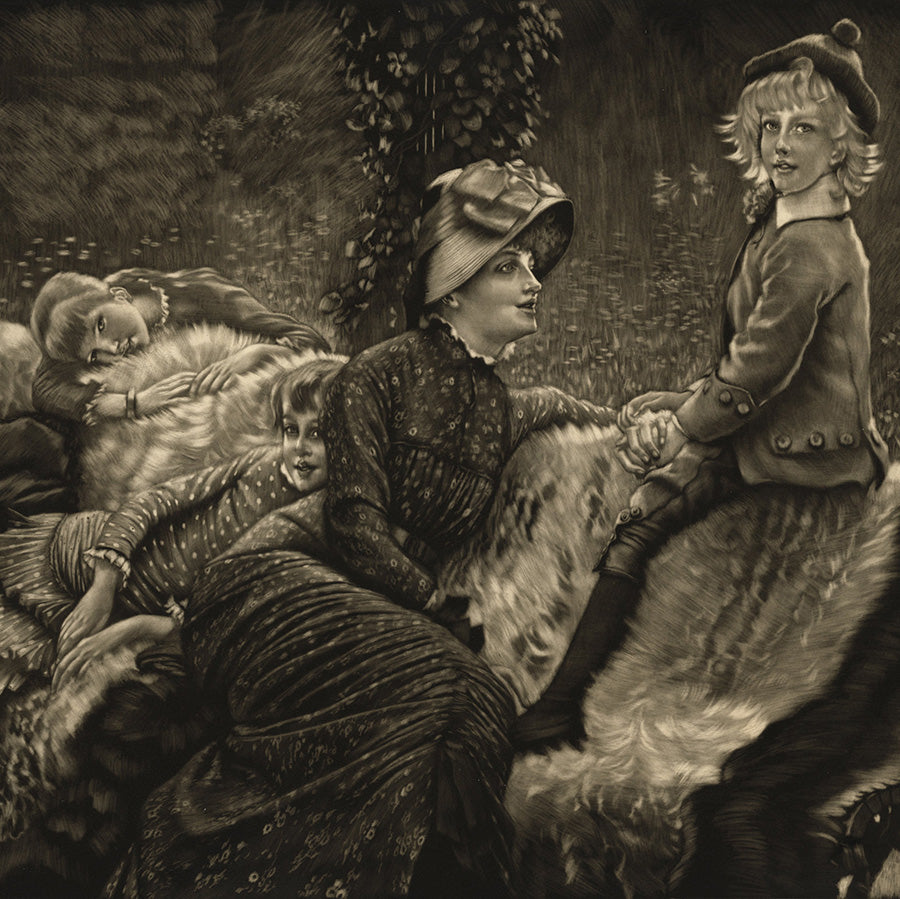 James Jacques Tissot - Le Banc de Jardin - Garden Bench - mezzotint - 1er etat - first state - rich burr - detail1
