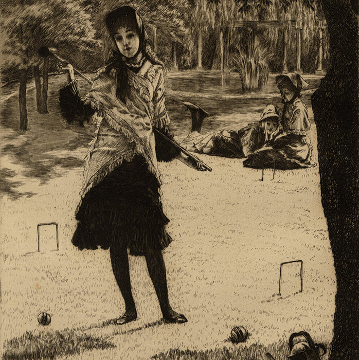 James Jacques Tissot - Le Croquet - regular edition etching - toy dog foreground - detail