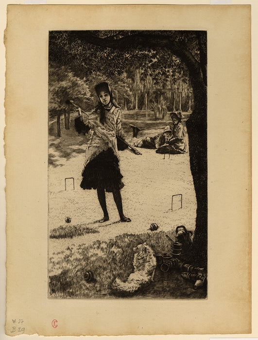 James Jacques Tissot - Le Croquet - regular edition etching - toy dog foreground - sheet