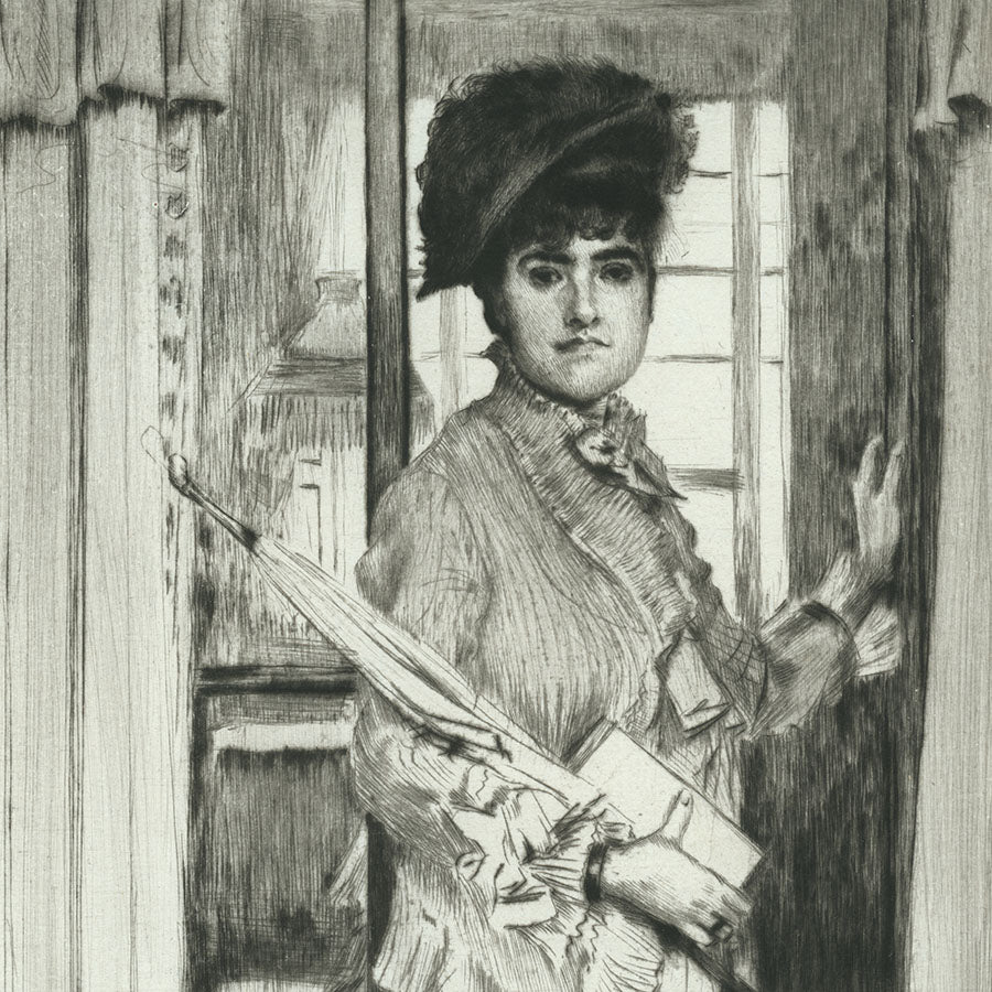 James Jacques Tissot - Portait of Miss L - Drypoint - original print for sale - oil painting after - detail