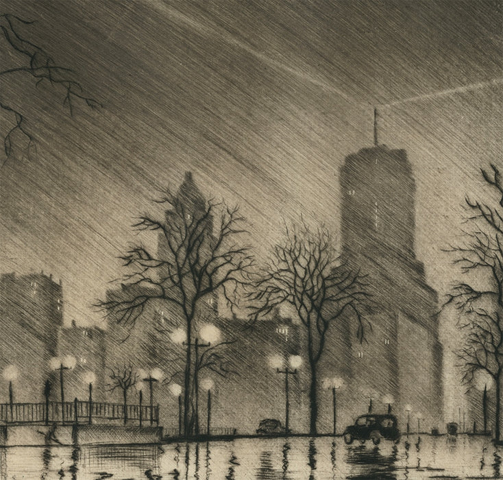 James Swann - Night in Chicago - Chicago Society of Etchers - North Lake Shore Drive - Beacon atop Drake Hotel_detail