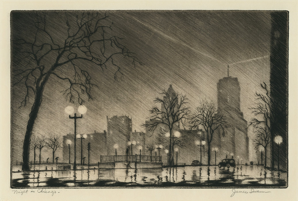 James Swann - Night in Chicago - Chicago Society of Etchers - North Lake Shore Drive - Beacon atop Drake Hotel