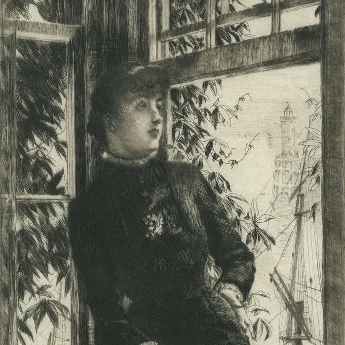 James Tissot - At the Seaside - Au Bord de la Mer - etching and drypoint - Elegant woman in a window