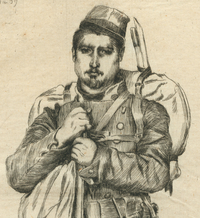 Etching - by TISSOT, James - titled: Bastien Pradel, memory of the siege of Paris