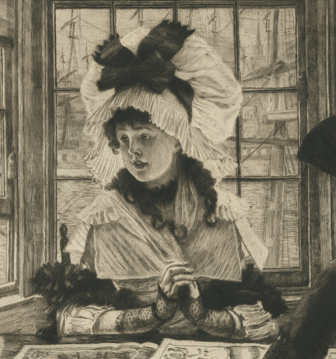 Color etching and drypoint - by TISSOT, James - titled: An Uninteresting Story