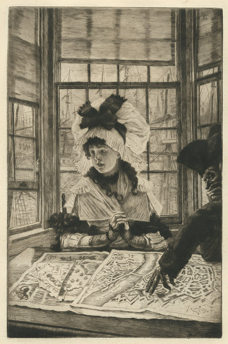 James Tissot - Histoire Ennuyeuse - Uninteresting Story - etching and drypoint - profile of elegant woman