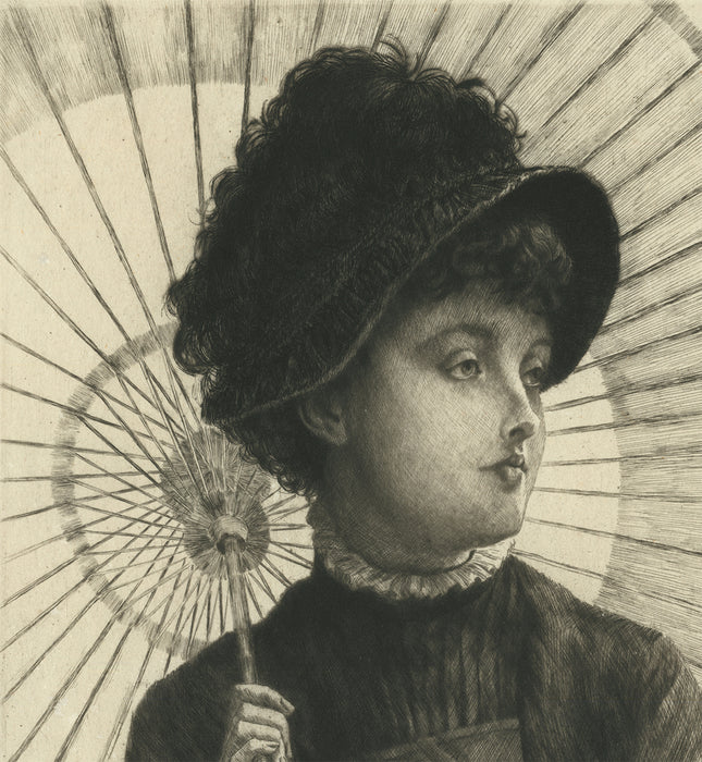 James Jacques Tissot - L'Eté - Summer - etching and drypoint - seated woman with parasol umbrella