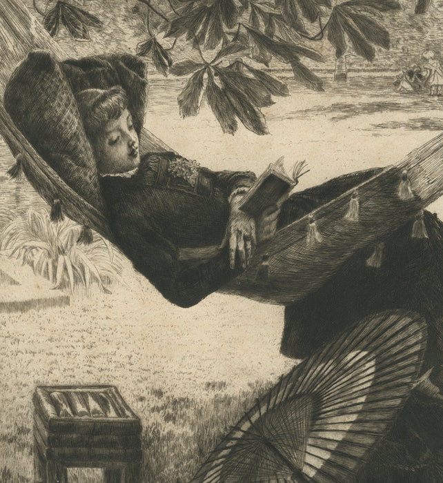 Color etching and drypoint - by TISSOT, James - titled: The Hammock (bon à tirer)