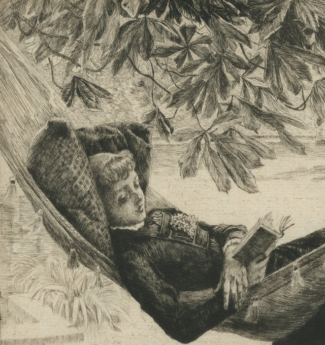 James Jacques Tissot - Le Hamac - Hammock - etching and drypoint - elegant woman reading in a hammock - edition