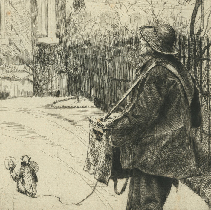 James Jacques Tissot - Le Joueur d'Orgue - The Organ Grinder - etching and drypoint - street performer with monkey