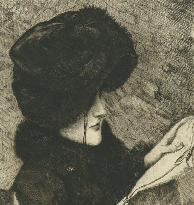 Etching and drypoint - by TISSOT, James - titled: The Newspaper (4th state)