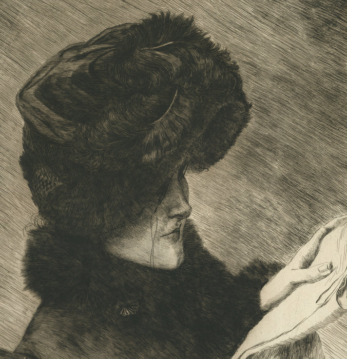 Etching - by TISSOT, James - titled: The Newspaper (2nd state)