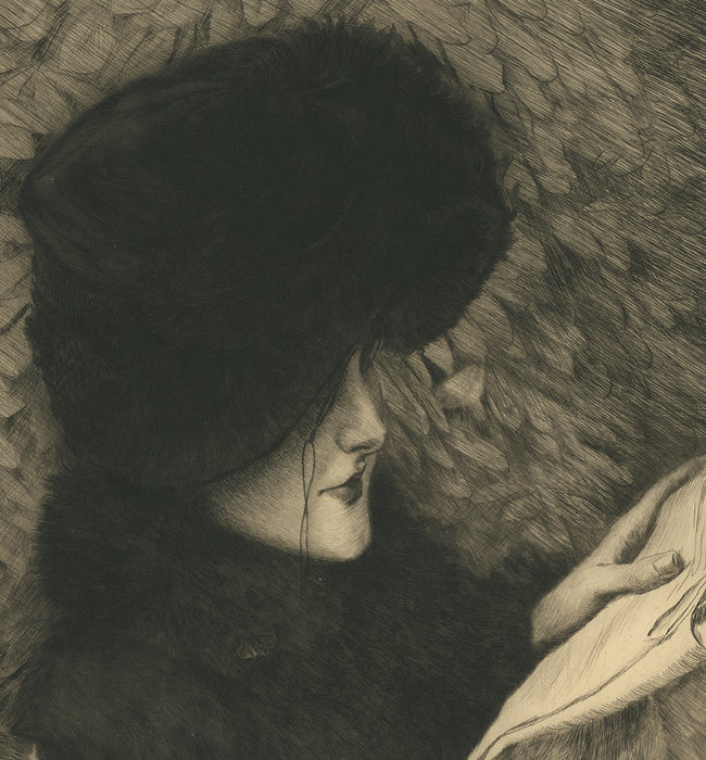 Etching and drypoint - by TISSOT, James - titled: The Newspaper (published state)