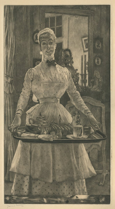 James Jacques Tissot - Le Matin - Morning - Mezzotint - Interior maid with breakfast