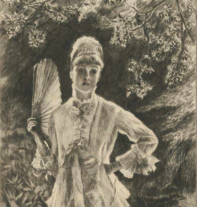 Color etching and drypoint - by TISSOT, James - titled: Spring