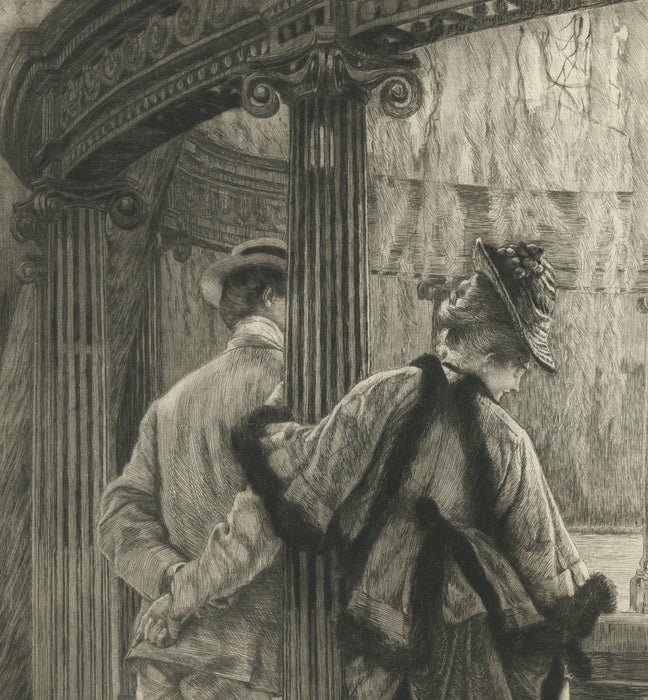 James Jacques Tissot - Querelle d'Amoureux - Lovers quarrel - etching and drypoint - original print
