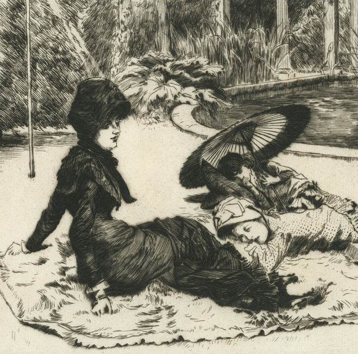 James Tissot - Sur l'Herbe - On the Grass - etching and drypoint - mother and children relaxing in park