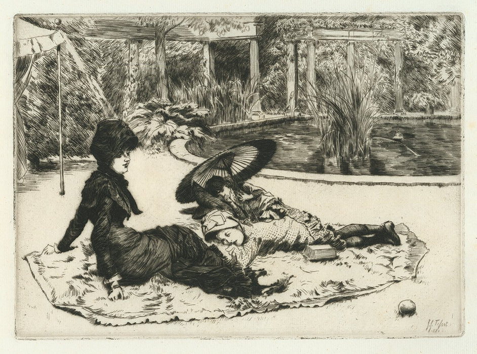James Jacques Tissot - Sur l'Herbe - On the Grass - etching and drypoint - mother and children relaxing in park