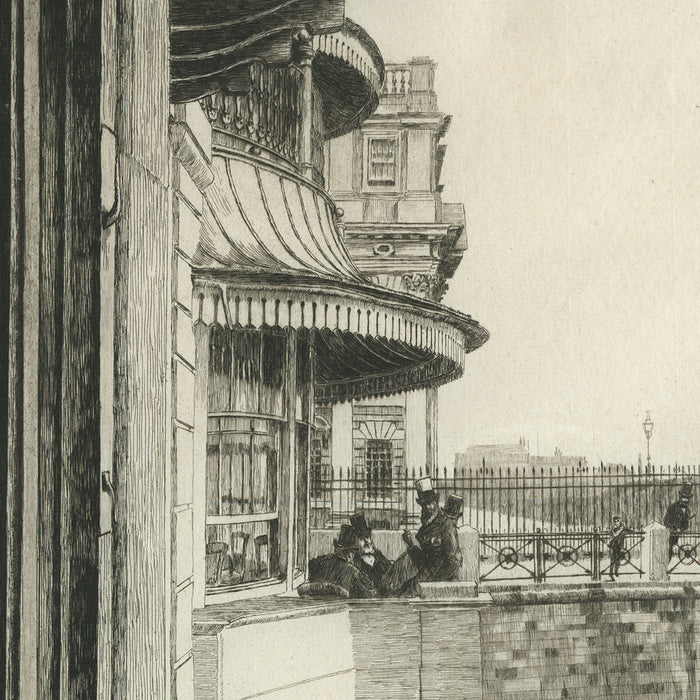 James Jacques Tissot - Trafalgar Tavern, Greenwich (1st state) - etching and drypoint - men on a balcony in London