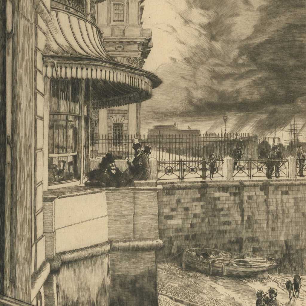James Jacques Tissot - Trafalgar Tavern, Greenwich (2nd state) - etching and drypoint - men on a balcony in London