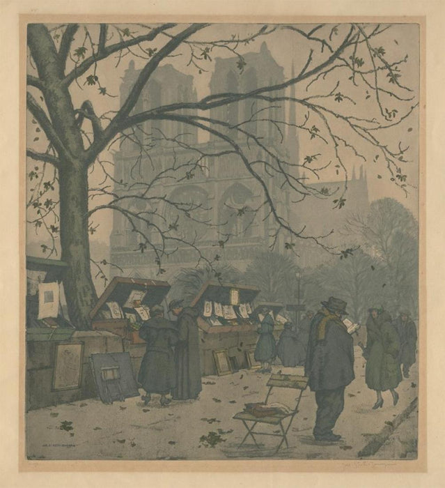 Jaromir Stretti-Zamponi - The Book Sellers in front of Notre-Dame - color paris print - fall Siene parisian