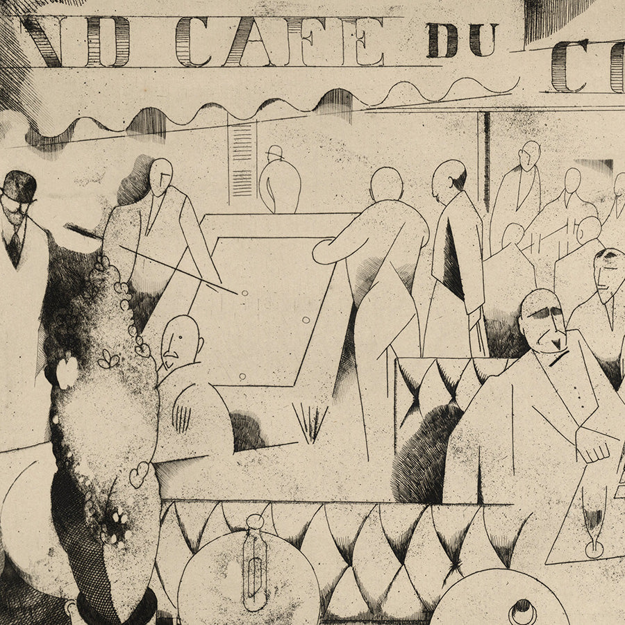 Jean-Emile Laboureur - Le Cafe du Commerce - pure-line cubistic engraving - detail