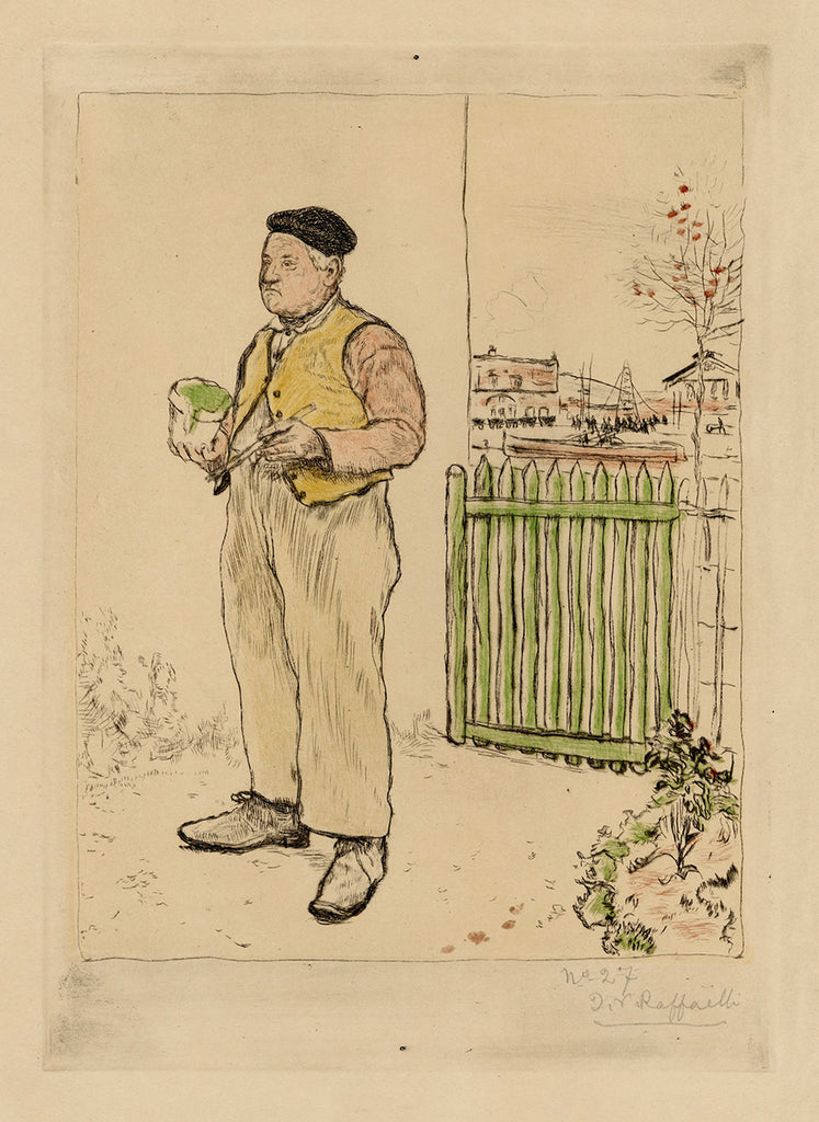 Jean-Francois Raffaelli - Le Bonhomme Venant de Peindre sa Barriere - Green Fence - typical French man with beret