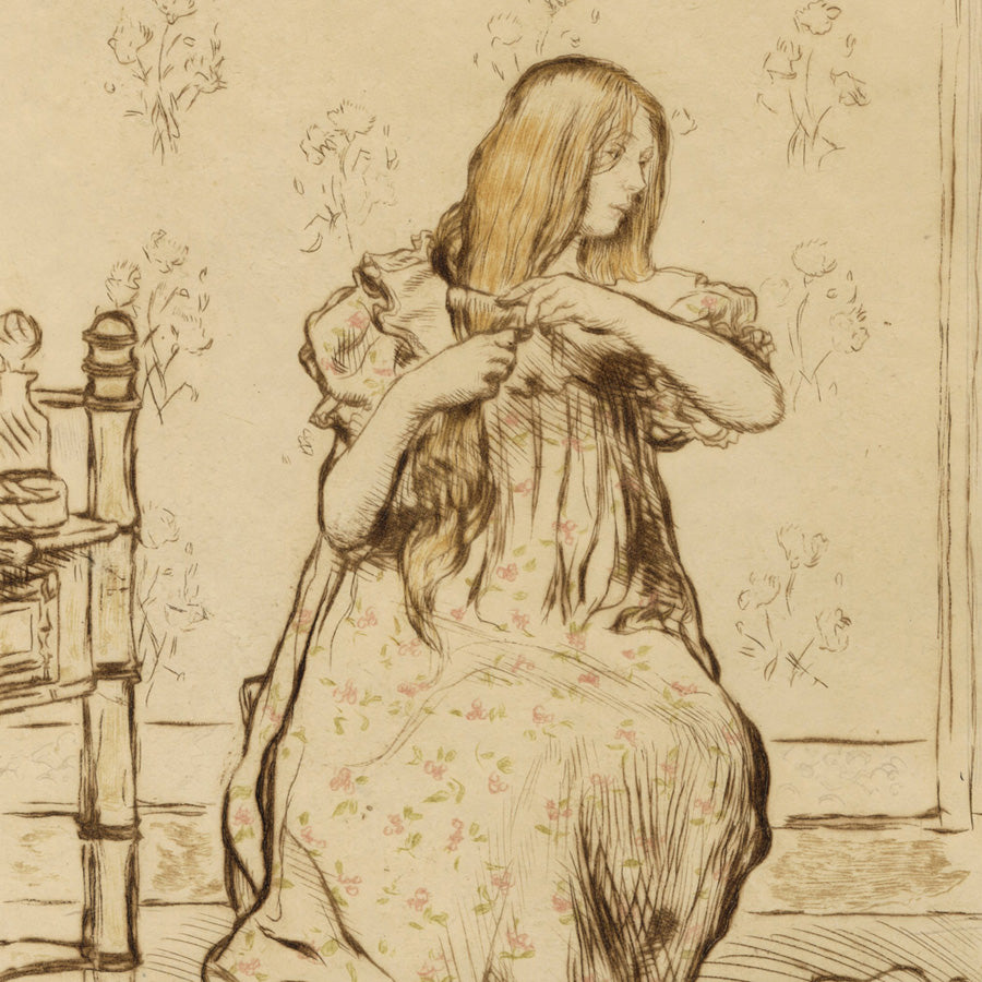 Jean Francois Raffaelli A Sa Toilette detail, A Woman Brushing her Hair   Etching printed in five colors on simili-Japon paper, 1898.